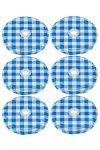 TO 66 Trinkhalmdeckel blau kariert, 6 Stück