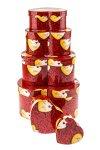 Geschenkbox-Set Rote Rosen herzförmig, 6-teilig