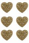 Weihnachtsornamente zum Aufkleben Herz, 6 Stück