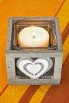 Holzschale Herz mit Glaseinsatz taupe