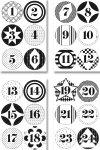 Rund-Sticker Adventskalenderzahlen in 3 Designs/Farben, 72 Stück