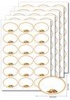 Etiketten oval Orangener Rahmen mit Obst -  5 Blatt A4