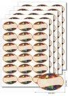 Etiketten oval Obstdekor 2 -  5 Blatt A4