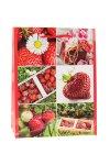 Geschenktasche Erdbeere, 18 x 8 x 23 cm