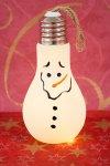 Anhänger Glühbirne Schneemann mit 6 LEDs