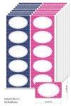 Etiketten 63 x 38 mm Punkte marine/pink, 80 Stück, A5