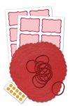 Deckchen-Set 46-teilig, 135 mm, Streifen rot