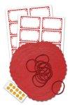 Deckchen-Set 50-teilig, 135 mm, Rüschen rot