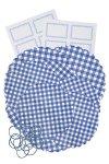 Deckchen-Set 32-teilig gemischt blau kariert