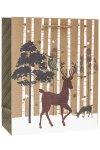 Geschenktasche Baum mit Eule und Hirsch, 26 x 12 x 32 cm