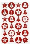 Rund-Sticker Adventskalenderzahlen Ø 4,5 cm, rot
