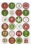 Rund-Sticker Adventskalenderzahlen Ø 4,5 cm, rot/grün