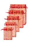 Organzasäckchen rot, 5-teiliges Set