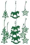 Filz-Anhänger Tanne, Stern, Schaukelpferd grün - 12er Set