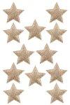 Glimmersterne mit Klebepunkt, 5 cm, goldbronze - 12er Pack
