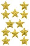 Glimmersterne mit Klebepunkt, 5 cm, gelbgold - 12er Pack