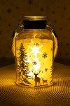 Deko-Glaslampe Winterwald gold mit Effektfolie und 5 LEDs