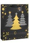 Geschenktüte Weihnachtsbäume schwarz, 26 x 12 x 32 cm