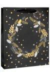 Geschenktasche Kranz schwarz, 26 x 12 x 32 cm