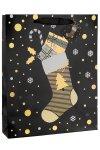 Geschenktüte Weihnachtssocke schwarz, 26 x 12 x 32 cm