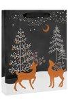 Geschenktasche Rentiere im Wald schwarz, 26 x 12 x 32 cm