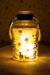 Deko-Glaslampe Winterwald silber mit Effektfolie und 5 LEDs