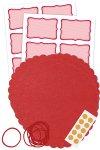 Deckchen-Set 46-teilig, 150 mm, Streifen rot