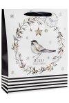 Geschenktüte Vogel mit Glitzer, 26 x 12 x 32 cm