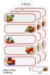 Etiketten Früchte in rotem Rahmen 78 x 24 mm, 15 Stück