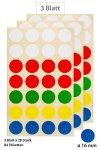 Vielzweck-Etiketten Punkte in 5 Farben Ø 16 mm, 84 Stück