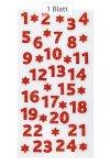 Adventskalender Zahlen 1-24, Glitter rot, 24 Stück