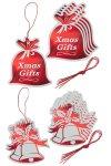Geschenkanhänger Glöckchen und Beutel rot, 12 Stück