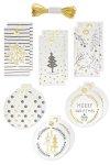 Folia Geschenkanhänger weiß/gold, 12 Stück inkl. 3 m Schnur