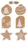 Folia Geschenkanhänger natur/weiß, 12 Stück inkl. 3 m Schnur