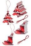 Geschenkanhänger Tanne und Schlittschuhe rot, 12 Stück