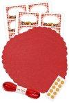 Deckchen-Set 41-teilig, 150 mm rot, Gemischte Früchte