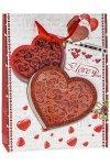 Geschenktüte I love you mit Glitzerherz, 26 x 12 x 32 cm