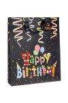 Geschenktüte Happy Birthday mit Glitzer, 18 x 8 x 24 cm
