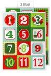Deko-Sticker Adventskalender-Zahlen rot/grün, 24er Set