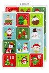 Deko-Sticker Adventskalender-Zahlen Figuren bunt, 24er Set