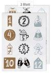 Deko-Sticker Adventskalender-Zahlen 3 Farben, 24er Set
