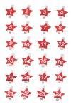 Adventskalenderzahlen Sterne auf Holzklammern, 24er Set