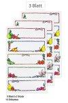 Schmucketiketten Gestreifter Rahmen mit Obst