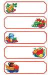 Schmucketiketten Roter Rahmen mit Obst