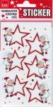 Weihnachtsetiketten Stern mit rotem Rahmen und Schäfchen