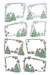 Weihnachtsetiketten Silberne Sterne und Tannen, 8 Stück