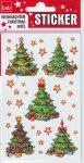 Weihnachtsetiketten Weihnachtsbaum und Sterne