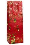 Flaschentasche Merry Christmas mit Goldprägung rot, 12 x 10 x 35 cm