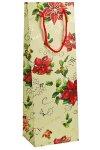 Flaschentasche Merry Christmas mit Goldprägung creme, 10 x 10 x 35 cm