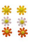 Miniaturen zum Aufkleben Blümchen mit Smiley- 6er Set